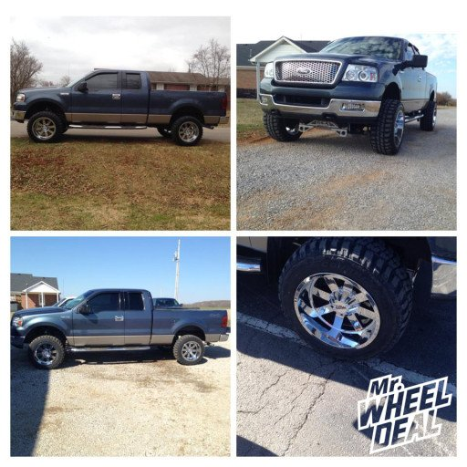 """20x12"""" Moto Metal 962 Chrome Wheels with 33x12.50x20 Federal Couragia MT Tires on a 2004 Ford F-150"""
