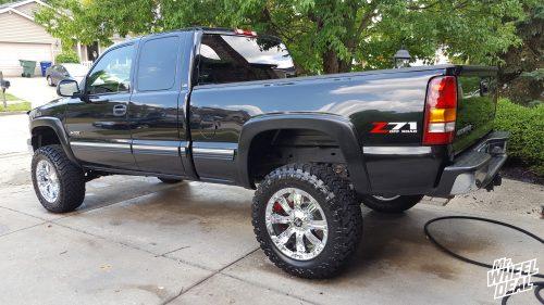 20x9 Chrome RBP 94R wheels with LT35x12.50R20 Atturo Trail Blade MT tires on a 2001 Chevy Silverado 1500
