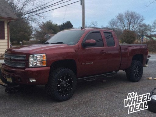 """20x9"""" Fuel Off-Road Krank Wheels with LT305/55/20 Nitto Trail Grappler Tires on a 2013 Chevy Silverado 1500"""
