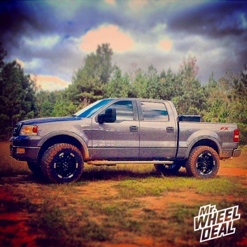 """20x9"""" Black and Machined Moto Metal 951 wheels +18 offset on a 2005 Ford F-150"""