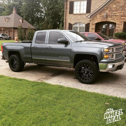20x10 Fuel Maverick -12mm wheels with LT295/55/20 Nitto Trail Grappler MT tires on a 2014 Chevy Silverado 1500