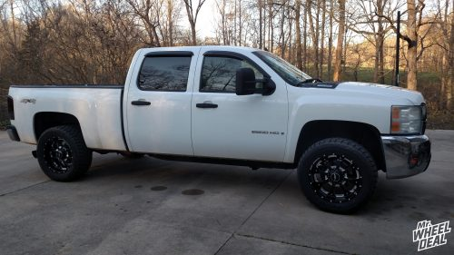 20x9 Death Metal BMF Novakane wheels with 33x12.50R20 Toyo Open Country RT tires on a 2008 Chevy Silverado 2500
