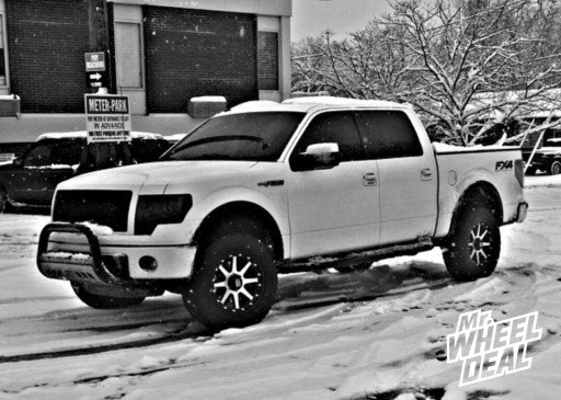 """20x9"""" XD Addict Black and Machined Wheels with LT275/65/20 Nitto Terra Grappler AT Tires on a 2012 Ford F-150"""