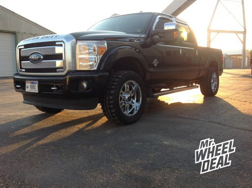"""20x9"""" XD Spy Chrome Wheels with 33x12.50x20 Federal Couragia MT Tires on  2013 Ford F-250"""