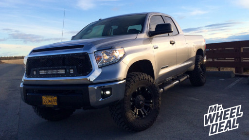 """18x9"""" XD Monster Black Wheels with 35x12.50x18 Toyo Open Country MT Tires on a 2014 Toyota Tundra"""
