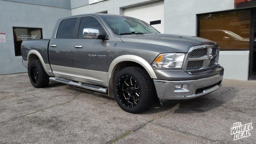 """2011 Ram 1500 with 20x10"""" Gear Alloy Big Block Black Milled wheels and 275/55/20 Nexen Roadian AT Pro tires"""