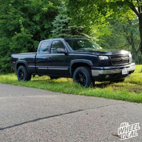 18x9 Vision Warlord -12 Matte Black wheels with LT275/70R18 Mastercraft Courser AXT tires on a 2006 Chevy Silverado 1500