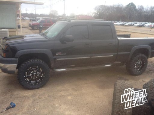 """20x9"""" BMF Novakane Death Metal Wheels with 35x12.50x20 Toyo Open Country MT Tires on a 2004 Chevy Silverado 2500HD"""