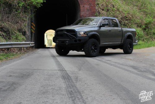 """Black 17x9"""" Fuel Coupler wheels with 35x12.50x17 Federal Couragia MT tires on a 2010 Ram 1500"""