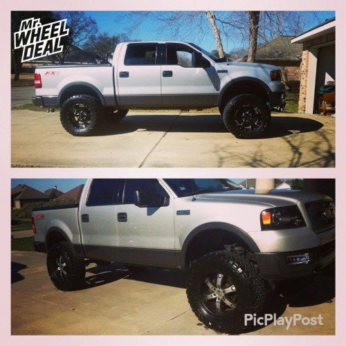 """20x9"""" BMF Novakane Death Metal Black wheels with +0 offset on a 2004 Ford F-150"""