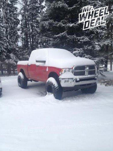 "20x14"" Black and Milled Fuel Maverick wheels with 37X13.50R20 Mark Ma Dakar MT tires on a 2013 RAM 2500 Diesel"