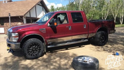 20x10 XD Grenade Black Milled wheels with LT35x12.50R20 Federal Couragia MT tires on a 2008 Ford F-350