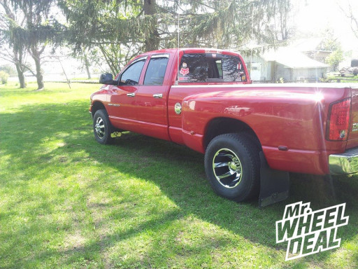 """17"""" Eagle Alloy Series 097/098 Dually Superfinished Wheels with Black Trim on a 2003 Dodge Ram 3500 dually"""