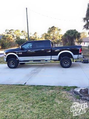 """2014 Ram 2500 with 20x9"""" Red Dirt Road RD02 Black Machined wheels -12 offset and 305/50/20 Toyo Open Country AT II tires"""
