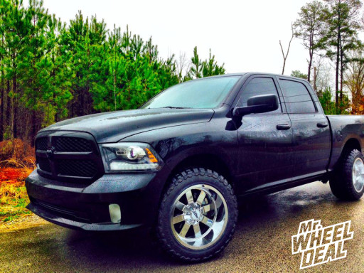 """20x12"""" Moto Metal 962 Chrome Wheels with 33X12.50R20 Toyo Open Country MT Tires on a 2014 Ram 1500"""