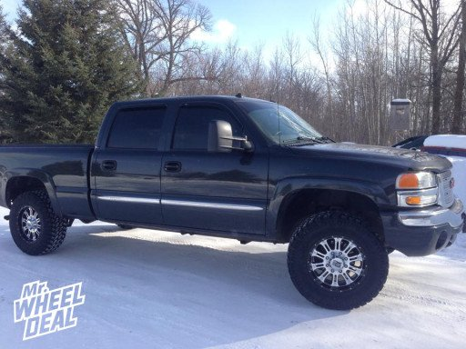 """18x9"""" XD Hoss Machined Wheels with LT285/65/18 Nitto Trail Grappler Tires on a 2003 GMC Sierra 1500HD"""