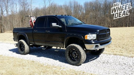 """20x10"""" BMF Novakane Death Metal Black Wheels with 35x12.50x20 Federal Couragia MT Tires on a 2004 Ram 2500"""