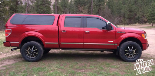 """20x9"""" Moto Metal 970 Machine Wheels with LT295/60/20 Toyo AT II Tires on a 2011 Ford F150"""