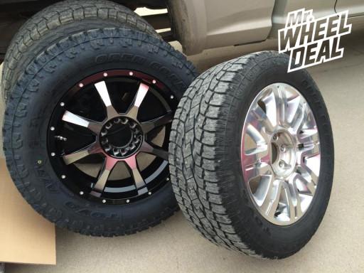 20x9 Moto Metal 970 Machine Wheels with LT295/60/20 Toyo AT II Tires