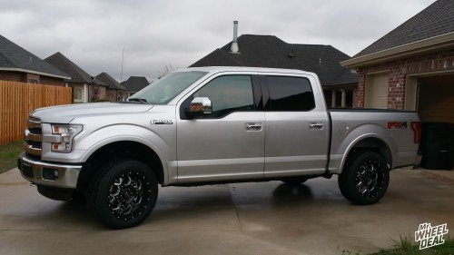 20x9 BMF Death Metal SOTA wheels with 275/55/20 Nitto Terra Grappler G2 tires on a 2015 Ford F-150