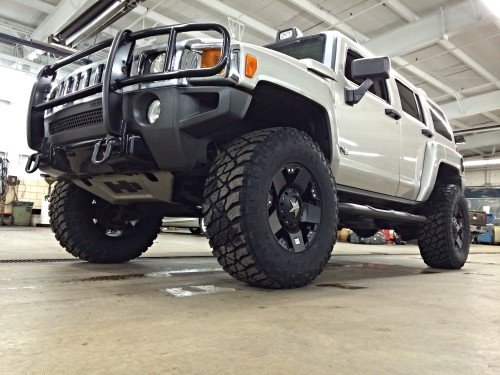 "17x9"" Black XD Rockstar wheels -12mm on a 2007 Hummer H3 with a 3"" lift"