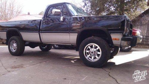 "17x9"" Fuel Maverick 1-Piece Chrome wheels on a 1992 Ram W250"