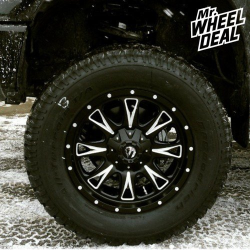 """20x9"""" Fuel Off-Road Throttle Black Milled wheels with 325/60/20 BF Goodrich AT TA KO tires on a 2015 Toyota Tundra"""