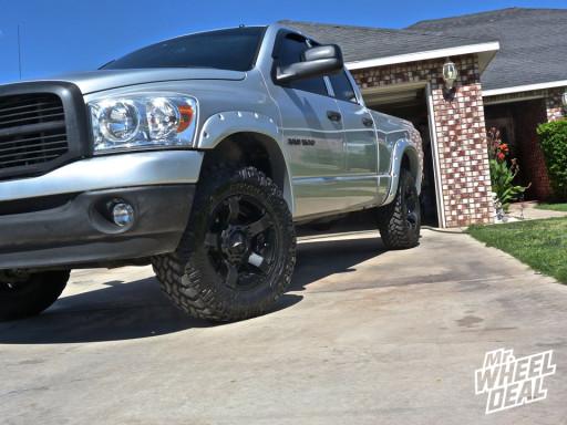 "18x9"" XD Rockstar II Wheels Black Wheels with LT275/70/18 Nitto Trail Grappler MT Tires on a 2007 Ram 1500"