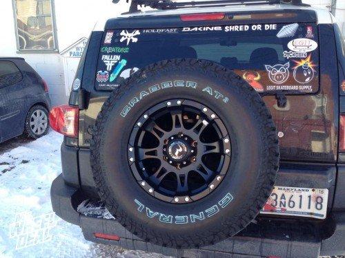 """2007 FJ Cruiser with 16x8"""" Raceline 981 Raptor Black wheels with LT285/75/16 General Grabber AT2 tires"""