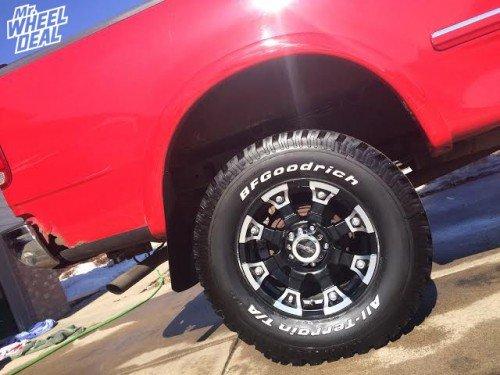 "17x8"" V-Tec Brutal Black +10 wheels with 285/70/17 BFGoodrich AT TA KO tires on a 1998 Ford F-150"
