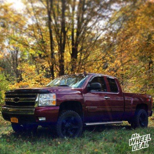 """20x9 XD Rockstar II Black -12mm wheels with 33x12.50x20 Lexani Mud Beast tires on a 2008 Chevy Silverado 1500 with a 3.5"""" lift"""