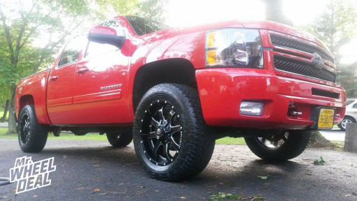 20x9 Ballistic Anvil Black Wheels with P275/60/20 Toyo Open Country AT 2 Tires on a 2013 Chevy 1500