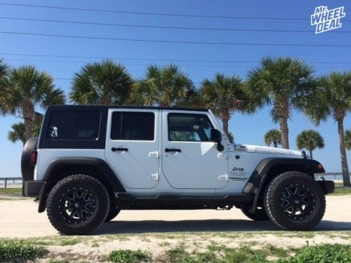 """17x9"""" Fuel Maverick Black Milled wheels with 265/70R17SL Goodyear DuraTrac tires on a 2015 Jeep Wrangler"""