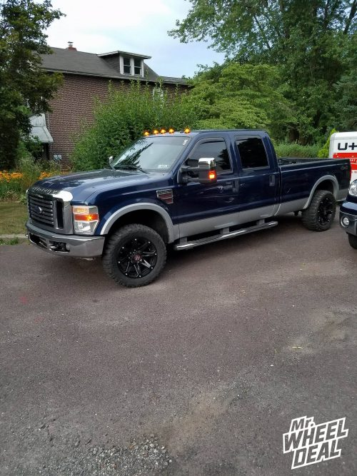 """20x9"""" Ballistic Jester -12mm Full Black wheels with 33x12.50R20 Federal Couragia MT tires on a 2008 Ford F-250"""