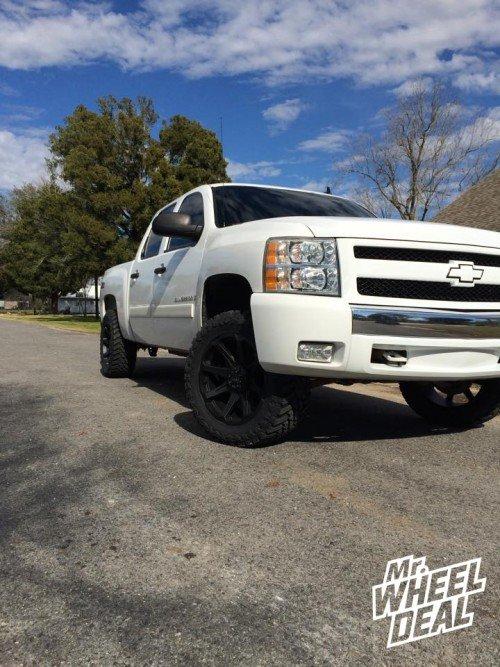 """20x9"""" Tuff T05 Flat Black -13 wheels with 33x12.50R20 Atturo MT tires on a 2008 Chevy Silverado 1500"""