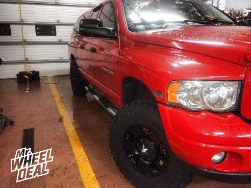 "17x9"" XD Rockstar Black Wheels with 35x12.50x17 Federal Couragia MT Tires on a 2004 Dodge Ram"