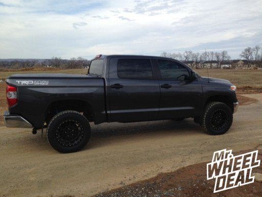 """20x9"""" Method Racing NV Matte Black Wheels with LT295/60/20 Toyo Open Country AT II Tires on a 2014 Toyota Tundra"""