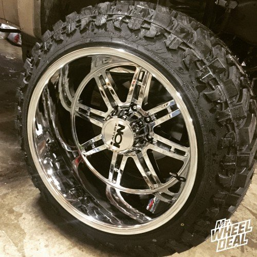"""22x14"""" Ion style 183 Chrome wheels with 35x12.50x22 Atturo Trail Blade MT tires"""
