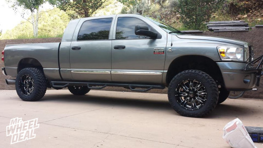 """20x10"""" Eagle Alloy 016 Black & Milled Wheels with 305/55/20 Nitto Trail Grappler Tires on a 2008 Ram 3500"""