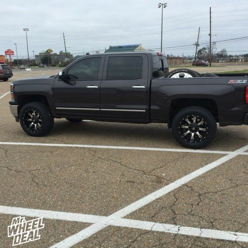 """20x10"""" Fuel Off-Road Nutz wheels with 275/60/20 Toyo Open Country ATII tires on a 2014 Silverado 1500"""