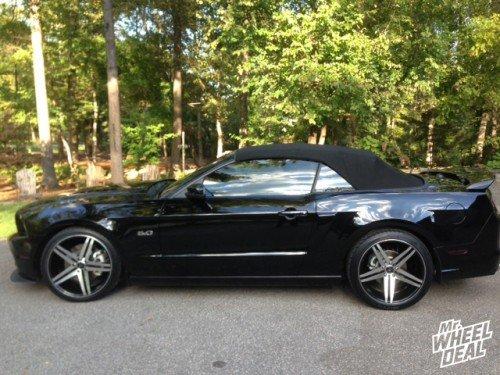 "20x9"" Verde Parallax Black wheels and 20x10"" Verde Parallax Black wheels with (2) 255/35/20 and (2) 275/35/20 Nitto NT555 tires on a 2014 Ford Mustang GT"