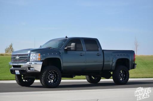 "20x10"" Novakane Death Metal wheels with 35X12.50R20 Toyo Open Country MT tires on a 2008 Chevy Silverado 2500 HD"