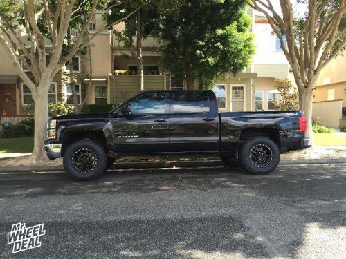 """18x9"""" Method The Standard +18 wheels with 305/65/18 Nitto Terra Grappler G2 tires on a 2015 Chevy Silverado 1500"""