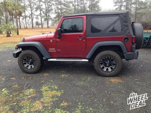 17x9 Red Dirt Road 04 Black Machined wheels on a 2013 Wrangler Sport