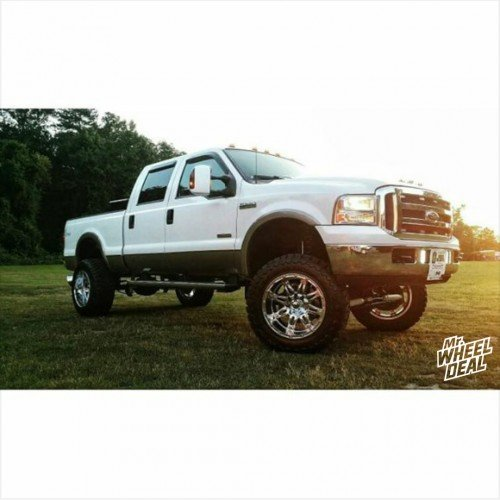 """20x12"""" Fuel Hostage wheels -44 with LT315/60/20 Toyo Open Country MT tires on a 2006 Ford F-250"""
