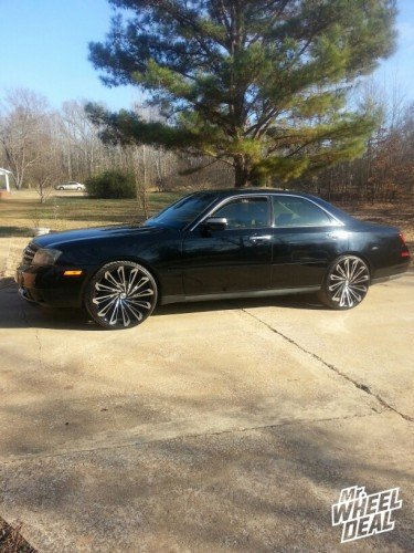 """2003 Infiniti M45 with 22x8.5"""" Black and Milled Starr SKS wheels +34 offset"""