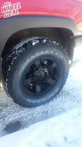 17x8 KMC XD Rockstar II Black +10mm wheels with 285/70/17 General Grabber AT2 tires on a 2004 Chevy Silverado 1500