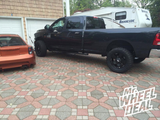 """20x8.5"""" XD Series Rockstar Machined Black Wheels with 35x12.50x20 Federal Couragia Tires on a 2014 Ram"""