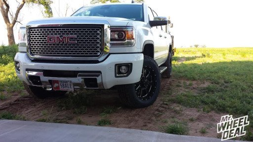 2015 GMC Sierra 2500 with 20x9 Gear Big Block Black and Milled Wheels with LT275/65/20 Nitto Terra Grappler Tires