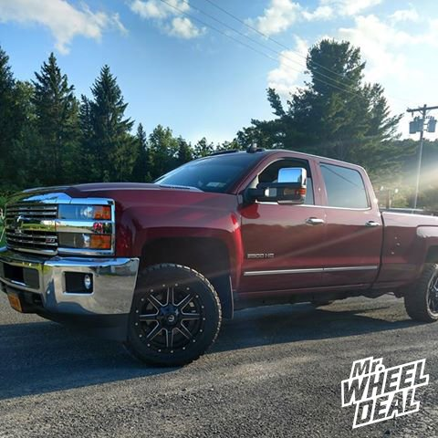 2015 Chevy Silverado 2500HD with 20x9 Black Milled Fuel Maverick 20mm wheels and LT285/55R20 Toyo Open Country RT tires